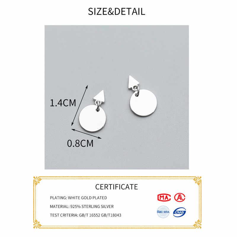 Inzatt Nyata 925 Sterling Silver Minimalis Geometris Disc Menjuntai Drop Anting-Anting untuk Wanita Pesta Fine Perhiasan Punk Aksesoris