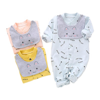 2018 Baby Rompers bibs suit Boy Girl Clothing Newborn Cotton Outfit fashion Bebe Clothes Romper+bib 2pcs/set Baby Accessories