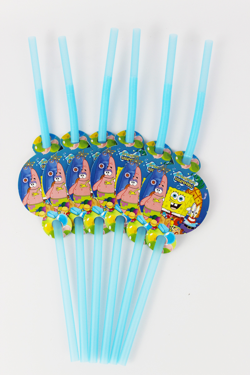 Wholesale 24pcs/lot Sponge Bob Theme Party Straws Supplies Kids Girls Boys Birthday Party Drink Straws Decorations Party Supply