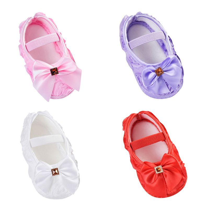 Flickor Blommor Bow Princess Skor Baby Toddler Skor 11cm 12cm 13cm 2018 New Spring Autumn Children Footwear First Walkers
