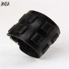 100% Genuine Leather Thick Male Bracelet Cuff Bangle Double Buckle Belt Wide Bracelet Black Brown pulseras hombre PSL045