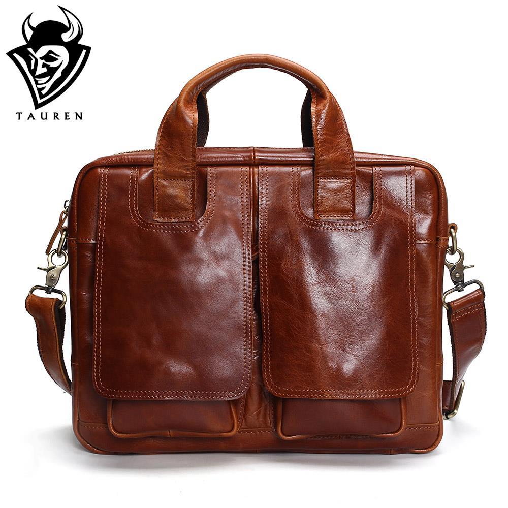 Tauren Genuine Leather Bag Men Messenger Bags Handbag Briescase Business Men Shoulder Bag High Quality 2018 Crossbody Bag Men