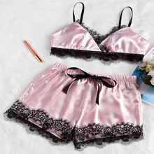 2pcs Womens Lady Sexy Satin Lace Sleepwear Babydoll Lingerie Nightdress Pajamas Set Bra Shorts Clothes Set