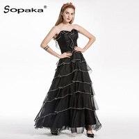 2018 Summer High Quality Black White Long Party Dress Sleeveless Strapless Backless Cascading Ruffle Designer Maxi