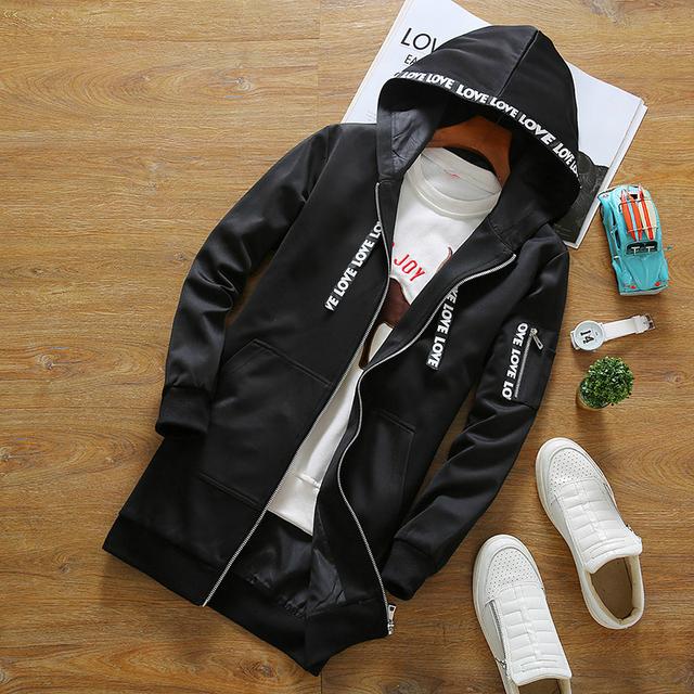 Os novos 2016 homens caem de moda requintado impressão jaqueta com capuz longo-manga tamanho S-3XL frete grátis