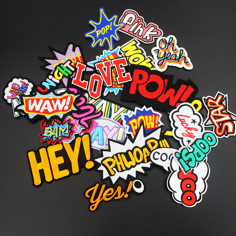30 pcs/ set Pow Waw Cool Love Star Letter Patches Iron on for Clothing Embroidered Applique for Jacket Jean Stickers