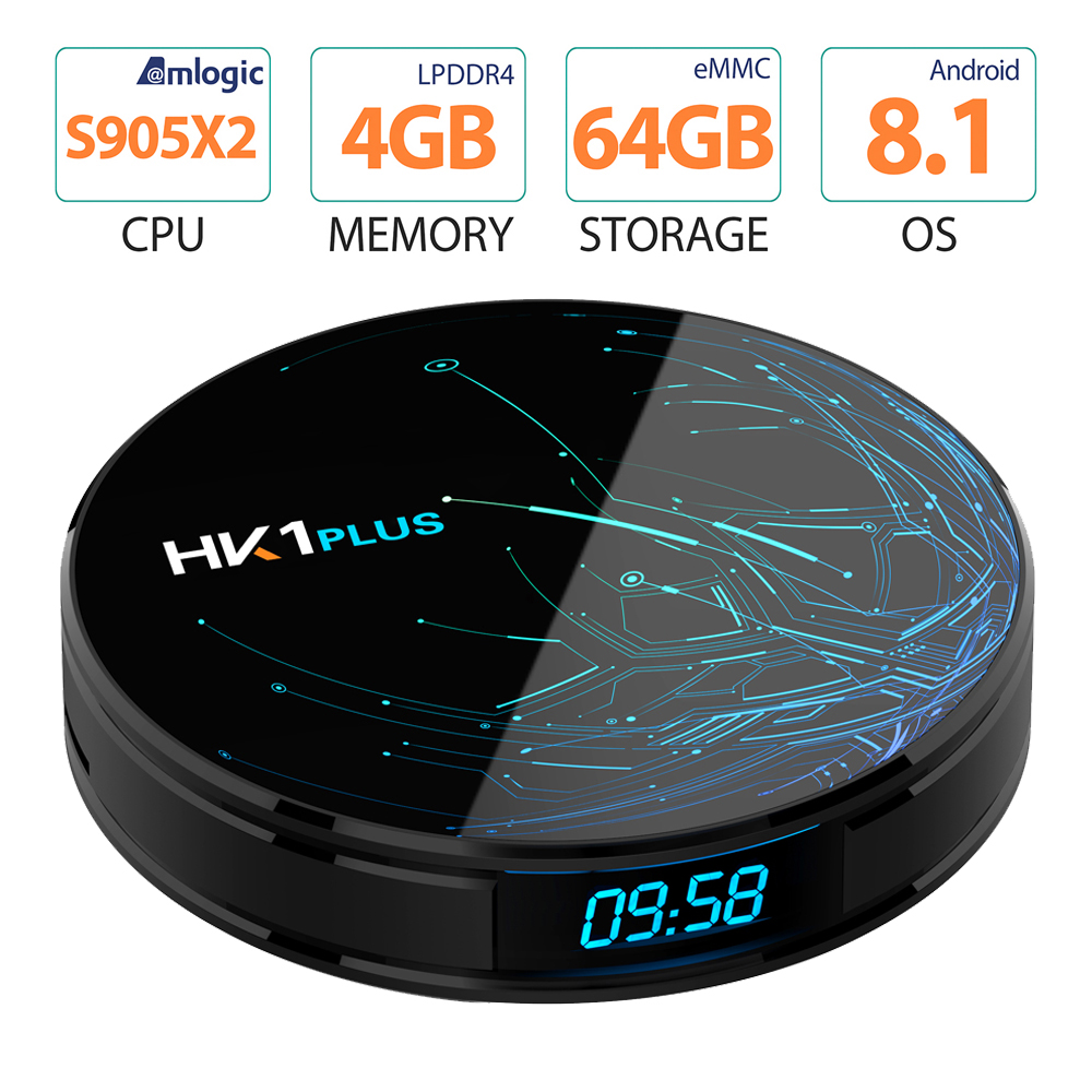 HK1 Plus Android 8.1 Tv Box Amlogic S905X2 4 GB 32 GB 64 GB télévision intelligente 2.4G/5G wifi H.265 4 K 1000 M Set Top Box PK H96 X96 MAX