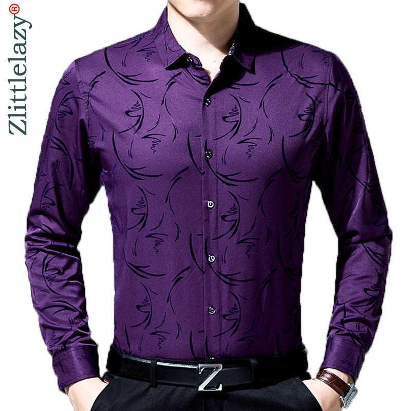2019 男性ファッションブランドカジュアルビジネススリムフィット男性のシャツカミーサ長袖花社会シャツドレス服 8637