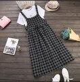 Primavera outono mangas mori menina spaghetti strap as mulheres se vestem de emagrecimento vestido estudante estilo preppy xadrez fresco
