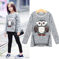 2016 Autumn New Fashion Girls Sweaters Kids Fleece Lined Zipper Sweaters Cartoon Cute Owl Casual Cotton