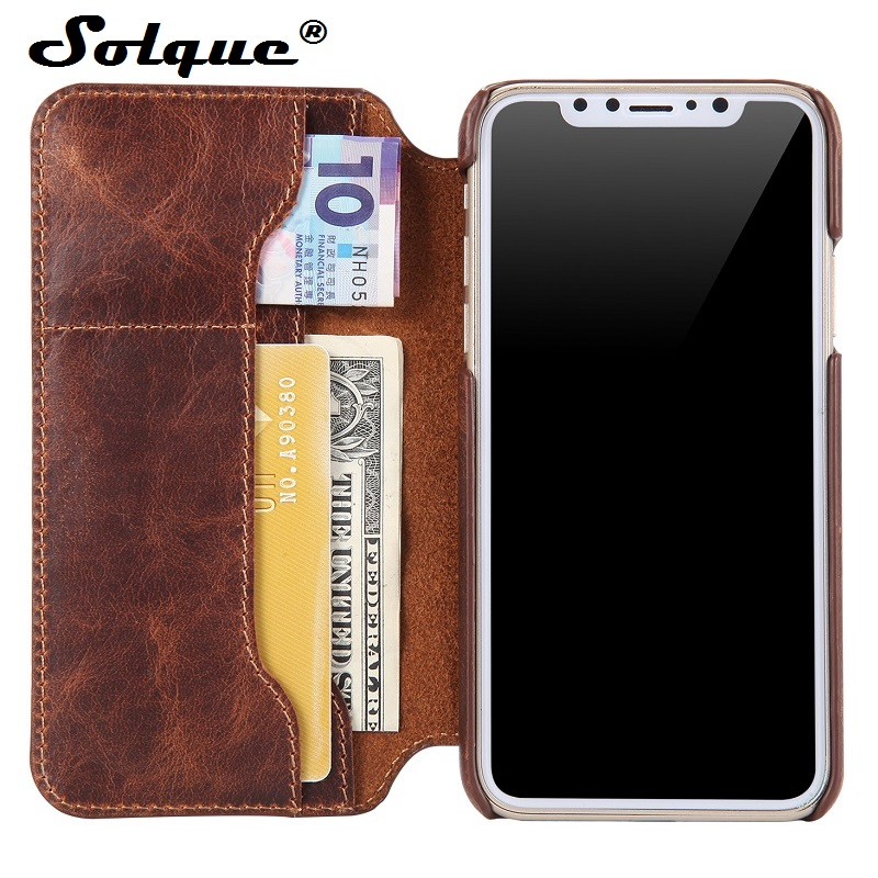 Solque Real Genuine Cow Skin Leather Flip Cover Case For iPhone X Cell Phone Retro Vintage Card Wallet Cases For iPhoneX Luxury