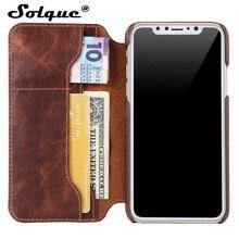 Solque 진짜 정품 가죽 플립 커버 케이스 아이폰 X XS 최대 XR 핸드폰 럭셔리 레트로 빈티지 카드 홀더 지갑 케이스