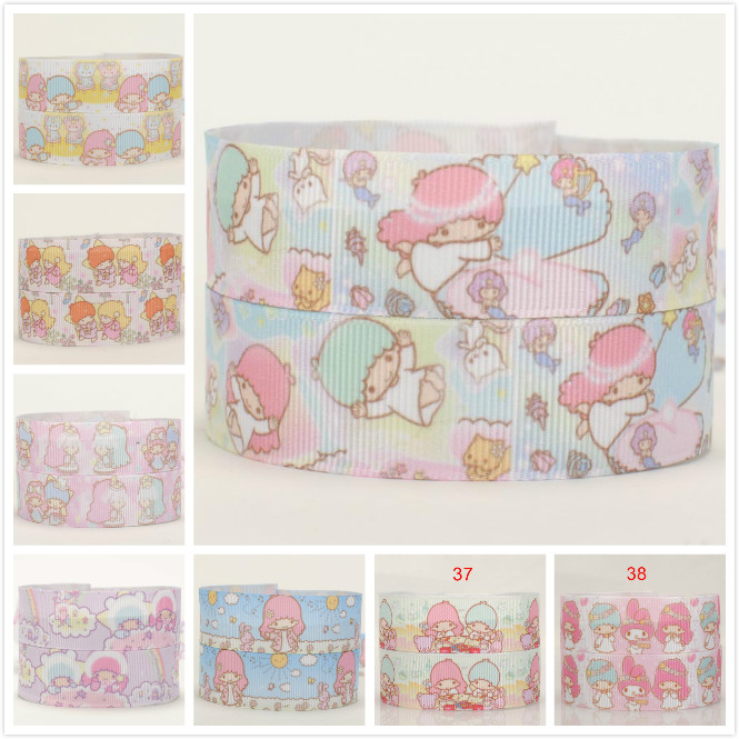 7/8 22 mm cute Japanese cartoon little twin star ribbon pattern grosgrain ribbon free shipping