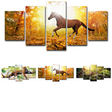 Horse Lizard Leopard Canvas Painting Wall Art Print 5 Panel Poster HD Animal Modular Pictures for Living Room Home Decoration