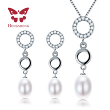HENGSHENG white pink purple black natural freshwater pearl jewelry sets for women, pendant&earrrings sets