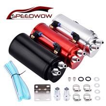 SPEEDWOW 0.45L Universal Aluminum Alloy Reservoir Oil Catch Can Tank Black/Blue/Red