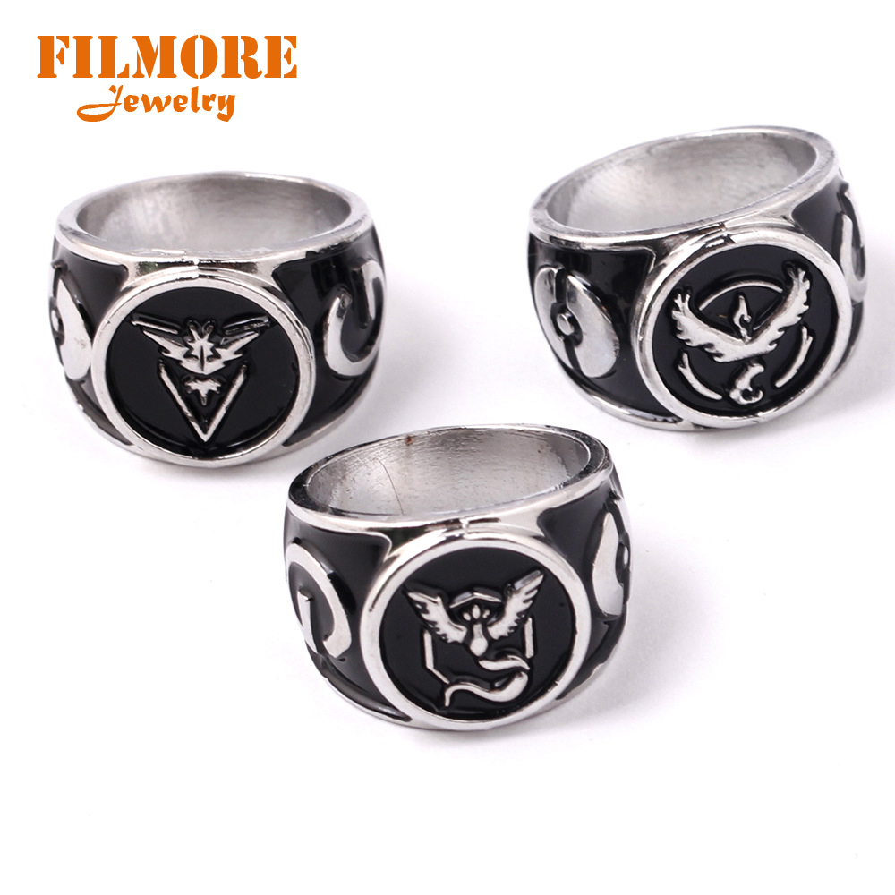 New Game Pokemon GO Rings Team Valor Instinct Mystic Antique Silver Anillos Pendant Metal Rings Jewelry for Women and Men Fans