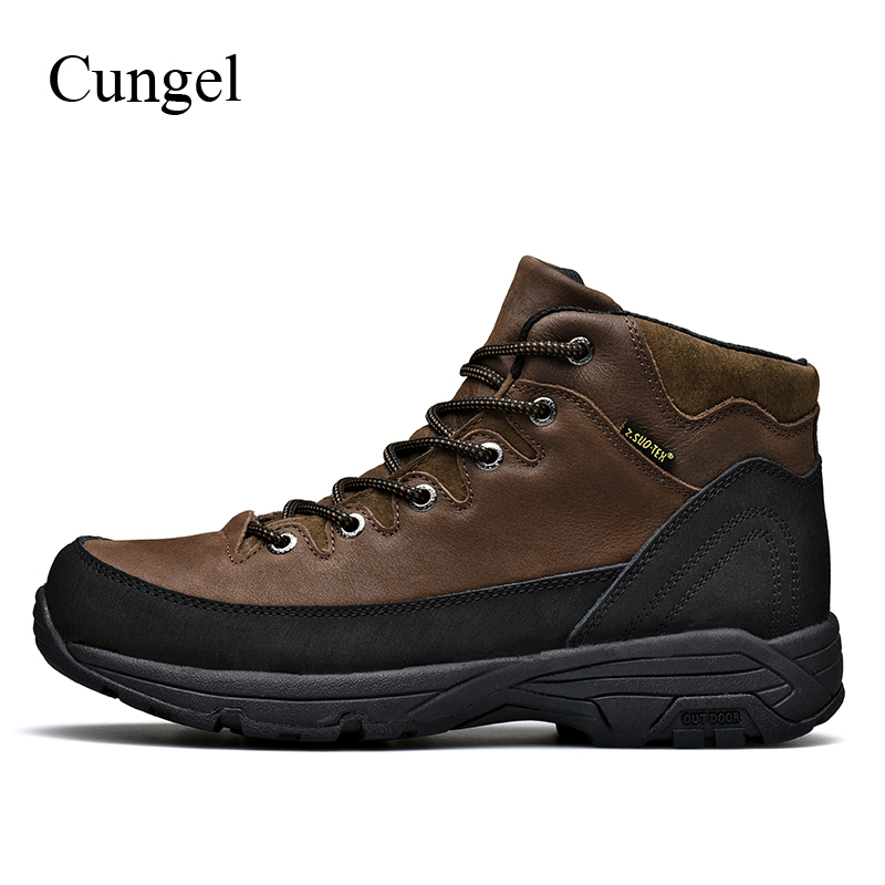 Cungel Outdoor Hiking shoes Autumn/Winter Sneakers men Waterproof Sand control Anti-skid Warm Trekking boots Mountain climbing