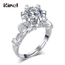 Роскошные обручальные кольца kinel с фианитом 1 карат для женщин
