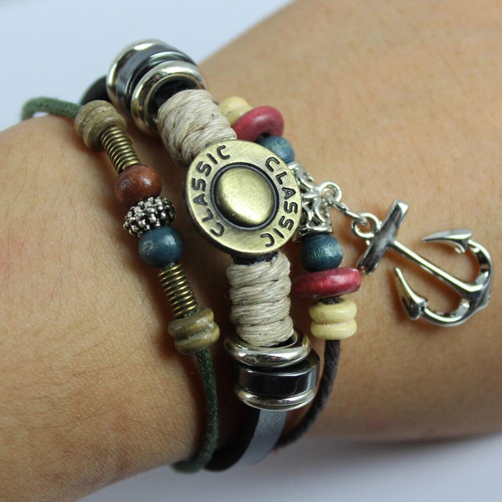 Mixed Wholesale Women Men Fashion Hemp Leather Bracelet 2017 New Design  Handmade Surfer Charm Bracelet Wristband