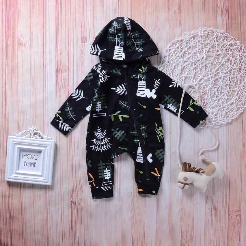 c0bb49e97a Baby Clothing Set 2019 New Autumn Newborn Baby Long Sleeves Leaves Print  zipper Kids Clothes Romper