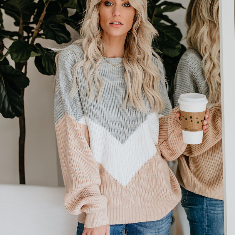 2019 new high quality autumn winter women Knit sweaters fashion soft pullover woman loose patchwork color Hot Sale in Pullovers from Women 39 s Clothing