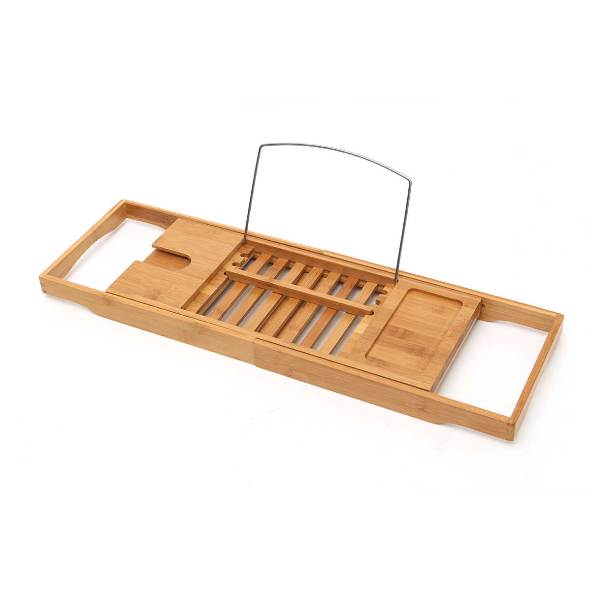 Kamar Mandi Mewah Bambu Mandi Bathtub Rak Jembatan Bathtub Caddy Tray Rak Anggur Kaca Pemegang Buku Bak Mandi Rak