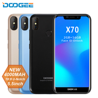 DOOGEE X70 3G Smartphone 5.5 Inch Notch Android 8.1 Face ID Fingerprint 4000mAh 2GB+16GB Mobile Phone 8MP Dual Camera Cellphone