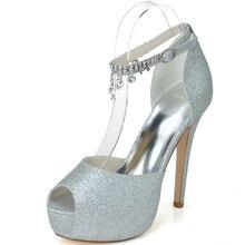 Ladies glitter metalic gold silver shoes party wedding prom night club pumps platform tassel ankle strap peep open toe high heel