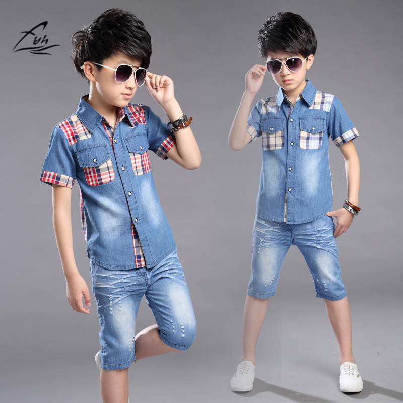 FYH Boys Clothing Summer Boys Clothes Set Shirt +Denim Shorts 2pcs Kids Clothes Set Turn-down Collar Big Boys Casual Suit Plaid