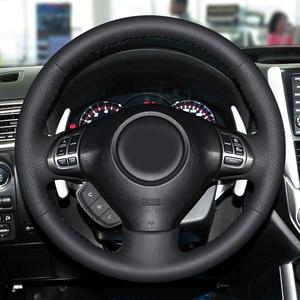 Image 2 - Schwarz Leder Hand genäht Auto Lenkrad Abdeckung Für Subaru Forester 2008 2012 Impreza 2008 2011 Legacy 2008 2010 Exiga 2