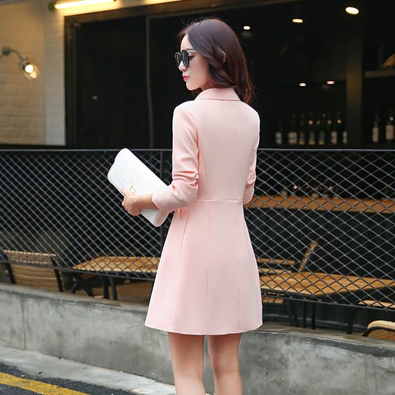 Super Pretty  Elegant Trench Coat Women Windbreaker Ladies Peplum Jacket Pink Grey Green Manteau Femme Silm Long Blazers bbb
