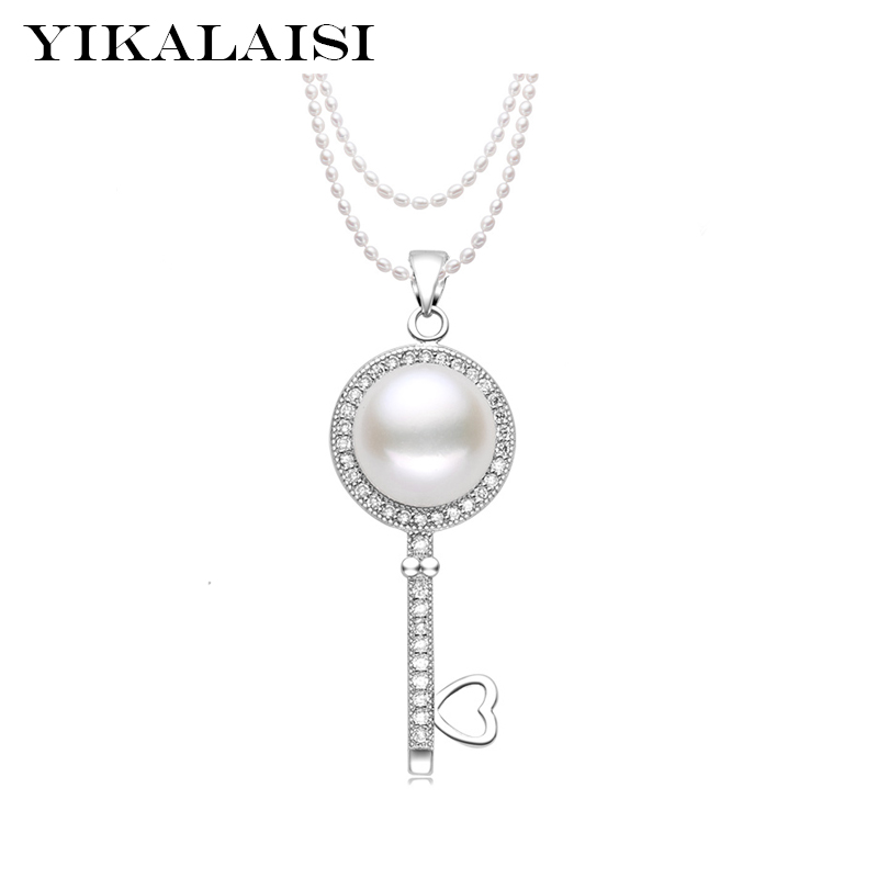 где купить YIKALAISI 2017 Long Multilayer 100% real Pearl Necklace Freshwater Pearl jewelry with 925 sterling silver Jewelry For Women дешево