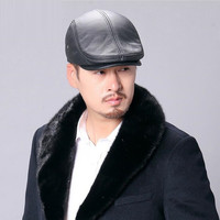 Leather Beret Cap Male Genuine Leather Winter Korean Version Recreational Hat Warm Cowhide Middle aged Elderly Male Caps H6934