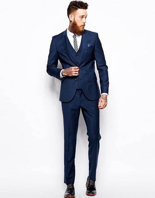 Tailored Men suit Set Slim One Button Royal Blue Black Prom Best ...