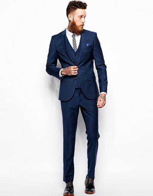 Zugeschnitten Männer anzug Gesetzt Dünne One Button Royal Blau ...
