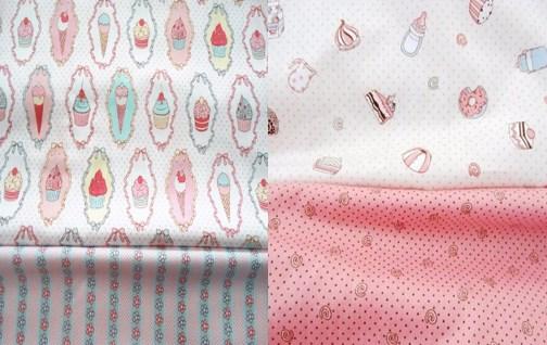 ZY DIY So Sweet 40x50cm Cake Icecream & Polka Dot Stripe Printed 100% Cotton Fabric Bundle For DIY sewing Doll Cloth
