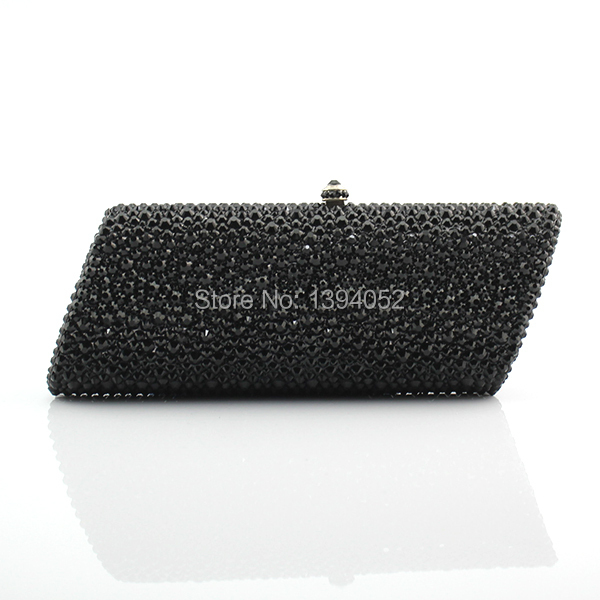Handmade Delicate Full Crystal Ladies Bag Black Crystal Bags Party Clutch Bag
