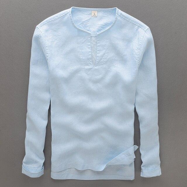 5d0b0ccd7 100% Homens da Camisa De Linho Solto Com Decote Em V Sólidos Camisas Homens  Verão
