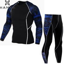 HAMEK Mens Compression Shirt Pants Set Running Tights Workout Fitness Training Tracksuit Gentle Long Sleeves Shirts Sport Suit