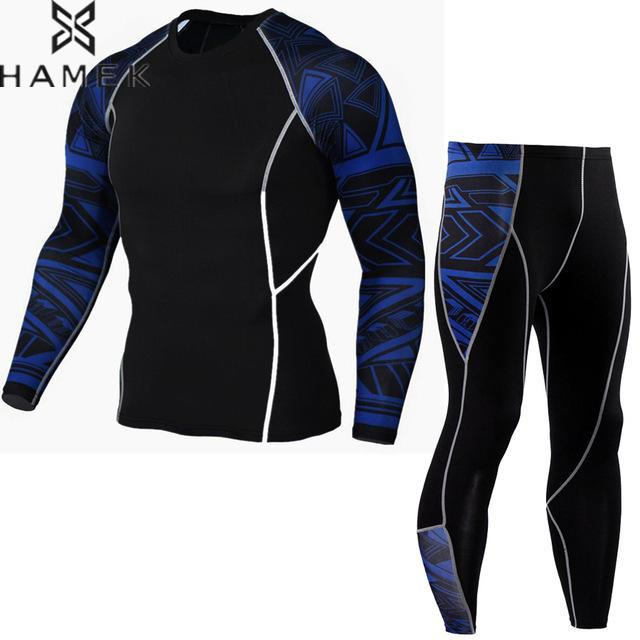 Mens Compression Printed Shirt Pants Set Running Tights Workout Fitness Training Tracksuit Gentle Long Sleeves Shirts Sport Suit 3 piece set men s sports running stretch tights leggings t shirts shorts training pants jogging fitness gym compression suits