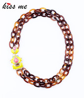 New Styles 2013 Fashion Jewelry Yellow Frog Pendant Resin Chain Necklace