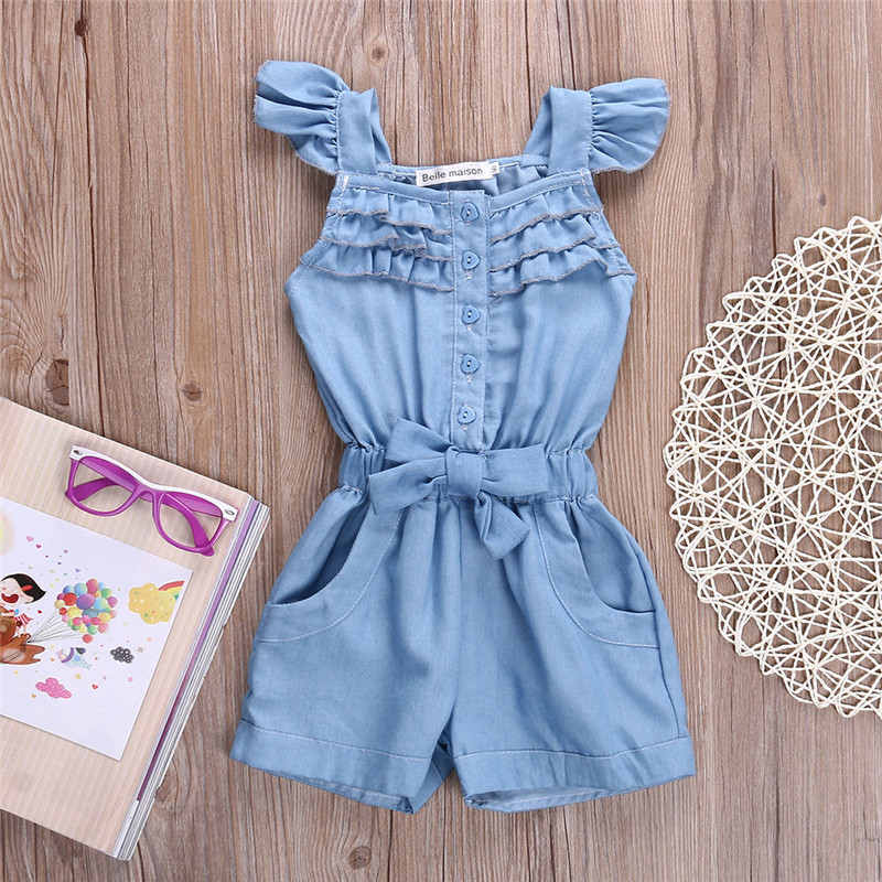 b4dd77a20f65 summer 2016 girls denim overalls for girls jumpsuits romper trousers kids  cotton dungarees short jeans playsuit onepiece-in Clothing Sets from Mother    Kids ...