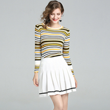 Suits Women Two Pieces Set Striped Cotton Blends Knit Top Long Sleeves White Mini Pleated Skirt New Fashion Style 2017 Autumn