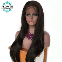 Flowerseason 5 × 4.5フルレース人間の髪シルクベースかつら赤ん坊の毛を持つインドのremy毛シルキーストレート自然生え