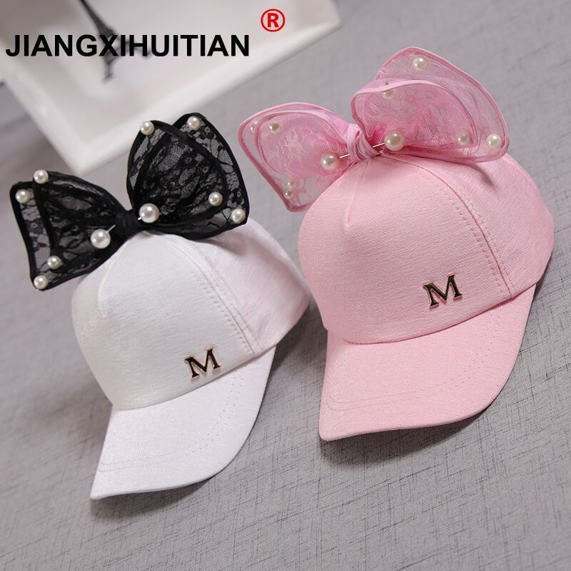 Cute children Mesh   cap   Spring Summer Children   Baseball     Cap   Girls Snapback Hip Hop   Caps   Rabbit Ear Pearl Big Bow Kids Sun Hat