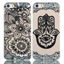 Marca Preto New Floral Mandala Flor Elefante Ultra Slim Macio TPU Casos de Telefone capa Para o iphone 5 5G 5C 5S SE 6 6G 6 S 6 Mais 5.5