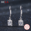 2016 new brand fashion square jewelry original 925 sterling silver drop earring filled white rhinestone earrings for women