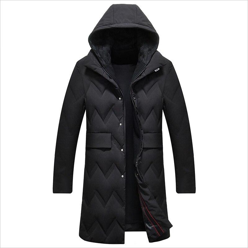 Men's Long Duck   Down   Jacket Hat Detachable Warm   Down     Coat   for Men Male