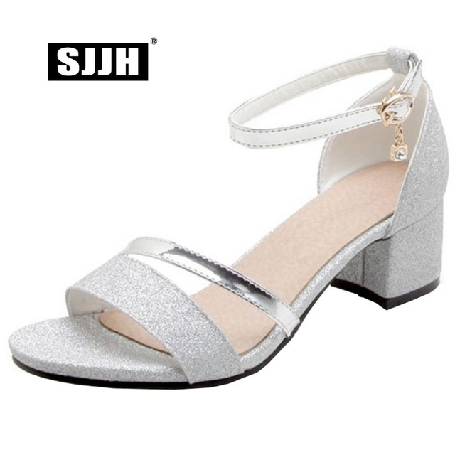 c9dfdfb59fc SJJH Woman Casual Bling Sandals with Open Toe Chunky Heels Crystal Solid Footwear  Fashion Elegant Formal Shoes Large Size A400